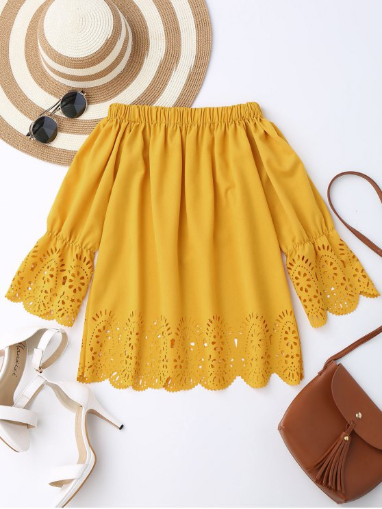 outfits Off The Shoulder Laser Cut Top - YELLOW S