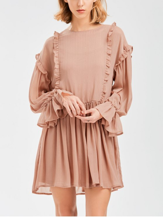 unique Sheer Flare Sleeve Dress With Golden Thread - NUDE PINK S
