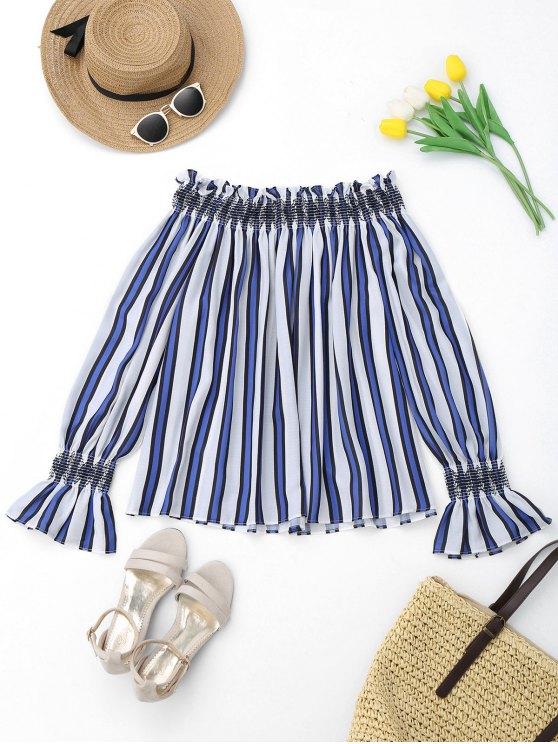 women Striped Ruffles Off Shoulder Blouse - BLUE S