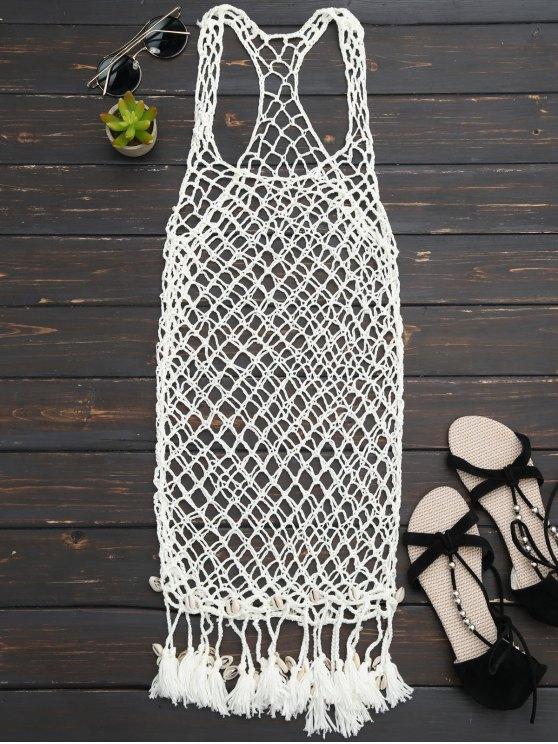 hot Seashell Fringe Crochet Cover Up Dress - OFF-WHITE ONE SIZE