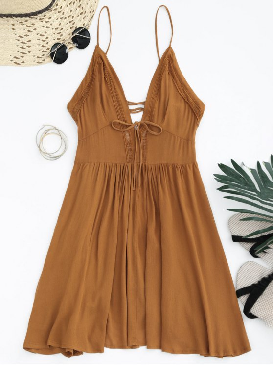 outfit Plunge Low Back Lace Up Sundress - LIGHT BROWN S