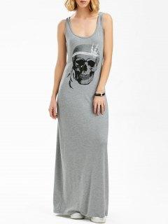Maxi Skull Print Tank Dress - Gray 2xl