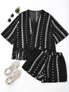 Embroidered Fringe Kimono Blouse With Cami Tank Top And Shorts - Black L
