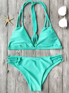 Macrame T Back Strappy Bikini Set - Turquoise S