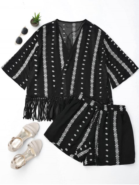 outfits Embroidered Fringe Kimono Blouse with Cami Tank Top and Shorts - BLACK M Mobile