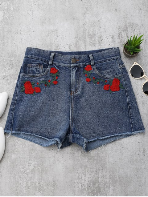 Shorts denim brodés rose - Denim Bleu L Mobile