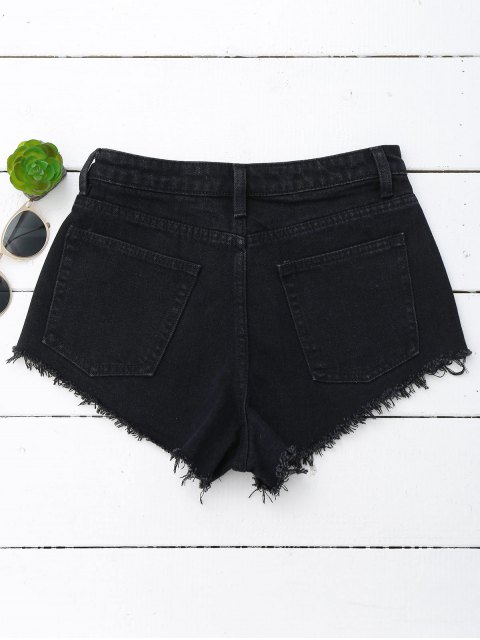 chic Denim Cutoffs Mini Shorts - BLACK M Mobile