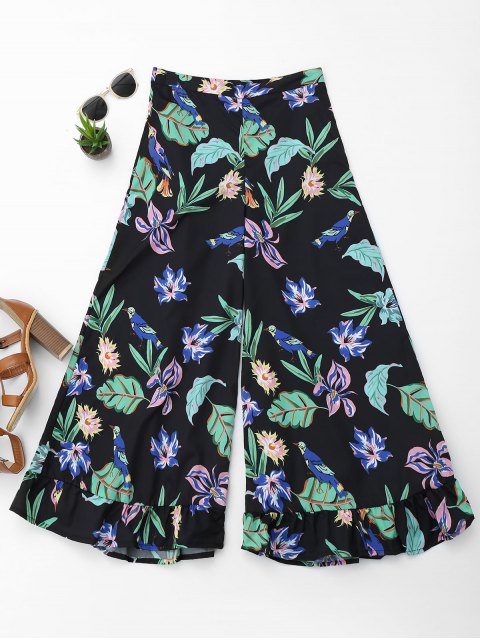 affordable Floral Ruffles Wide Leg Pants - FLORAL S Mobile