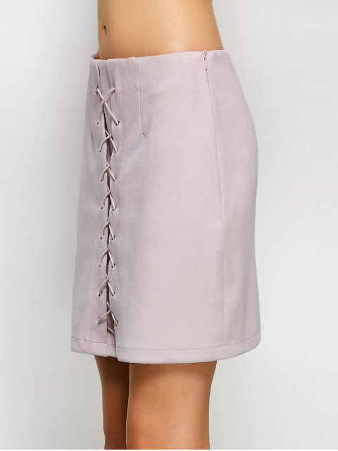 outfit Lace-Up Bodycon Skirt - SHALLOW PINK L Mobile