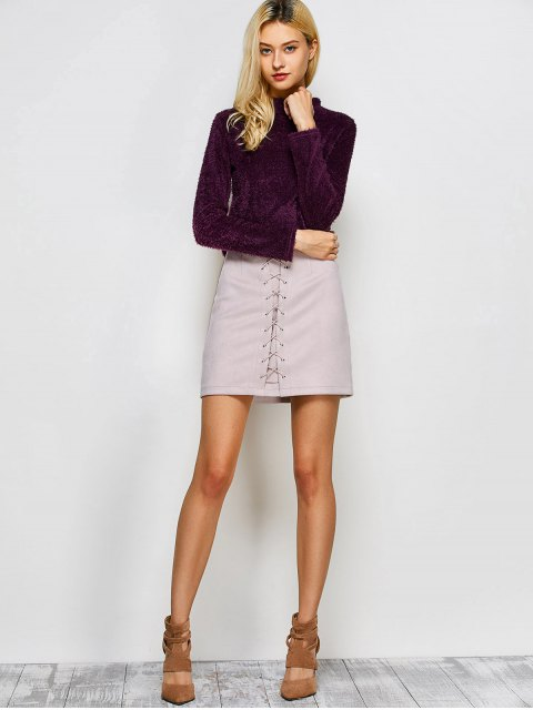 outfits Lace-Up Bodycon Skirt - SHALLOW PINK M Mobile