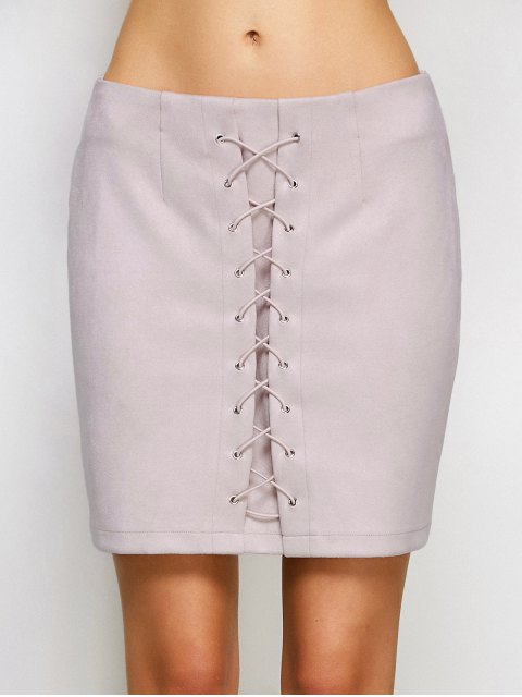 shop Lace-Up Bodycon Skirt - SHALLOW PINK S Mobile