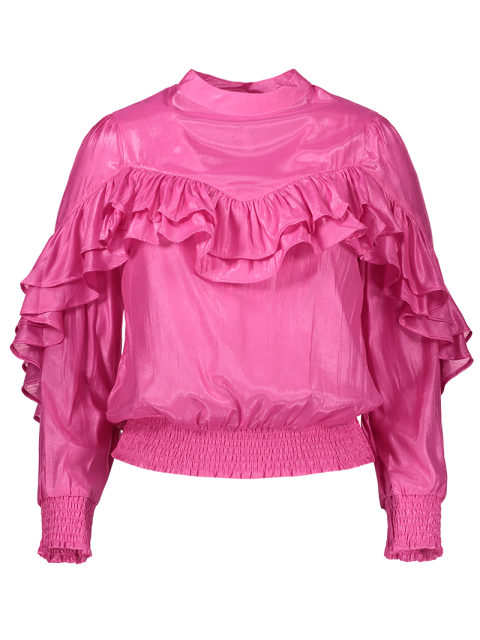 affordable Stand Neck Ruffles Blouse - PINK XL Mobile