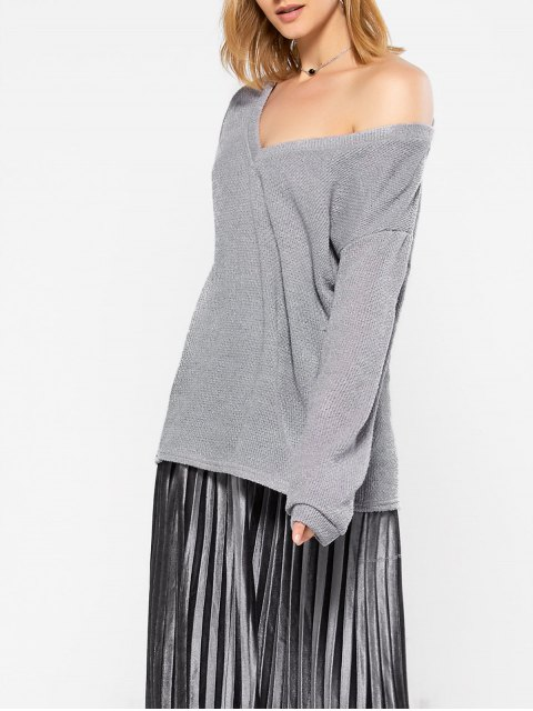 sale Long Sleeve V Neck Jumper - GRAY XL Mobile
