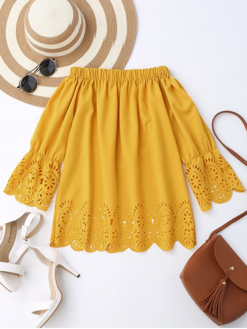 outfits Off The Shoulder Laser Cut Top - YELLOW S Mobile
