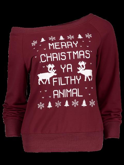 chic Reindeer Snowflake Christmas Sweatshirt - WINE RED M Mobile