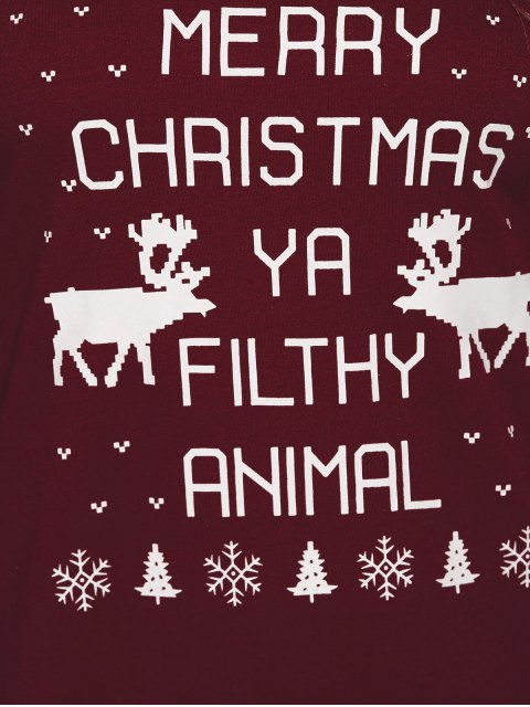 fancy Reindeer Snowflake Christmas Sweatshirt - WINE RED S Mobile