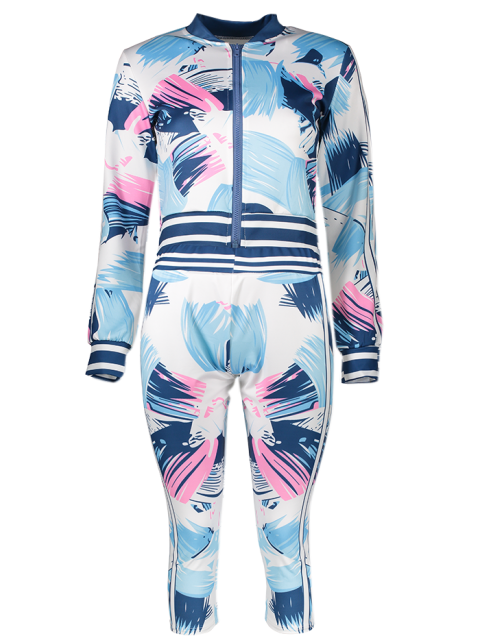 fancy Bomber Running Jacket with Printed Pants - BLUE S Mobile