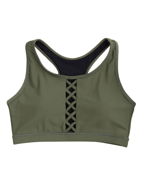 shop Padded Racerback Lace Up Sporty Bra - ARMY GREEN L Mobile