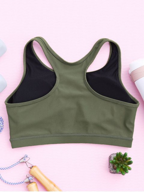 shops Padded Racerback Lace Up Sporty Bra - ARMY GREEN M Mobile