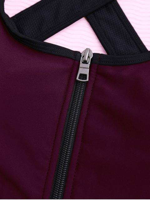 trendy Cross Back Zipper Padded Sporty Bra - BURGUNDY L Mobile