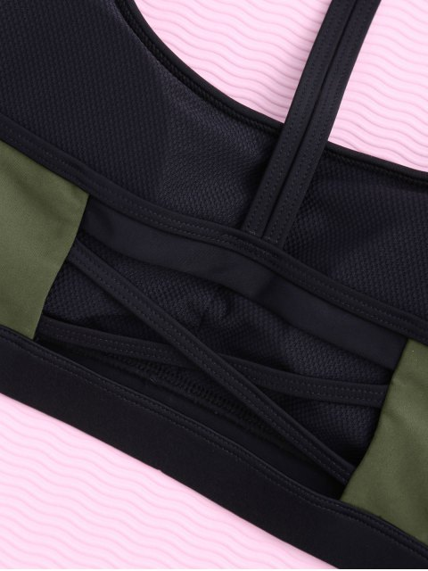 outfits Padded Y Back Strappy Sporty Bra - ARMY GREEN L Mobile