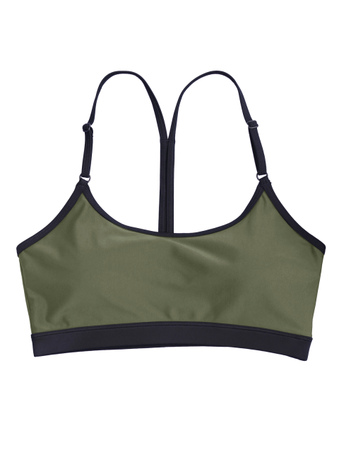 shop Padded Y Back Strappy Sporty Bra - ARMY GREEN M Mobile