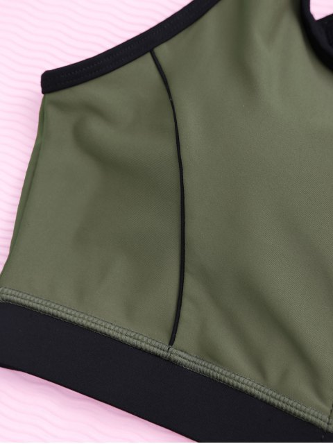 ladies Cross Back Zipper Padded Sporty Bra - ARMY GREEN S Mobile