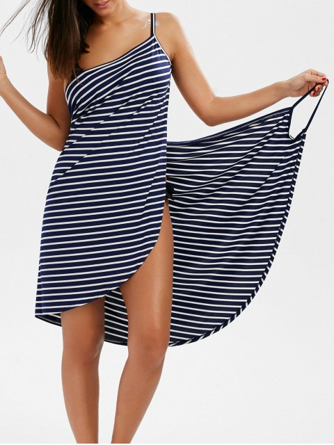 trendy Striped Open Back Cover-ups Dress - STRIPE M Mobile