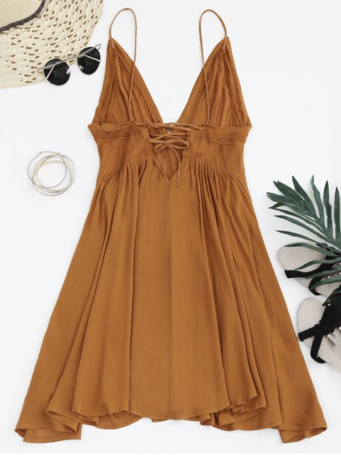 outfits Plunge Low Back Lace Up Sundress - LIGHT BROWN M Mobile
