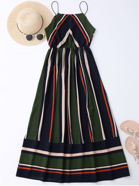 chic Maxi Holiday Sundress With Stripes - BLACKISH GREEN L Mobile