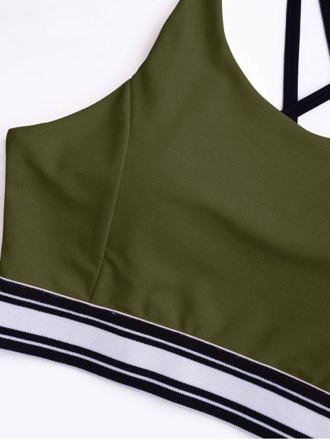 lady Padded Cross Back Striped Sporty Bra - ARMY GREEN L Mobile