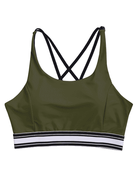 best Padded Cross Back Striped Sporty Bra - ARMY GREEN M Mobile