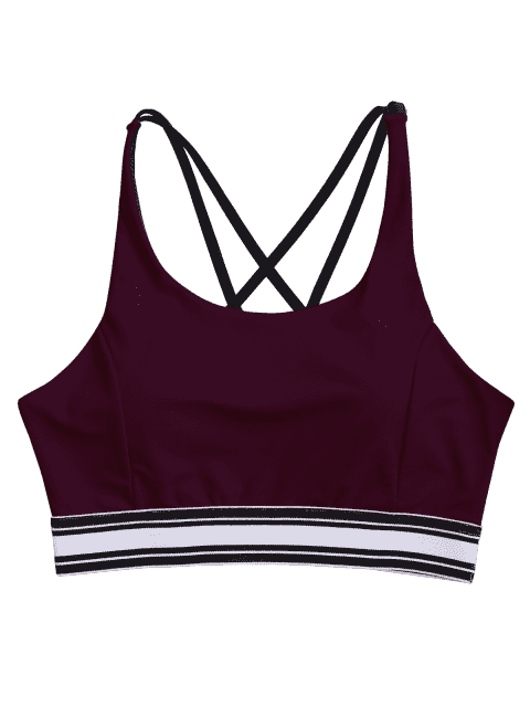 women Padded Cross Back Striped Sporty Bra - BURGUNDY L Mobile