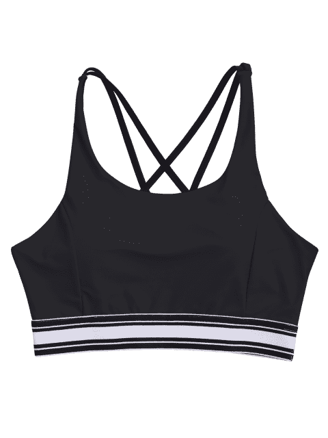womens Padded Cross Back Striped Sporty Bra - BLACK S Mobile