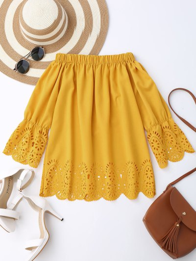 Off The Shoulder Laser Cut Top - Yellow L