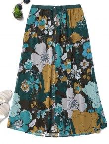 Button Up Floral A-Line Skirt