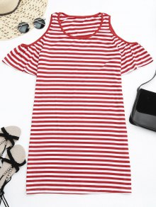 Cold Shoulder Striped T-shirt Dress - Red L