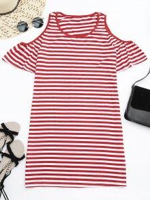 Cold Shoulder Striped T-shirt Dress