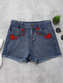 Cutoffs Rose Embroidered Denim Shorts - Denim Blue M