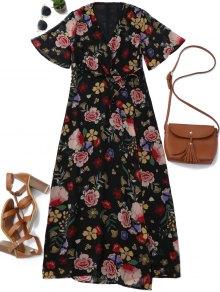 Floral Wrap A Line Maxi Dress