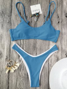 Cami Padded Thong Bathing Suit - Ice Blue