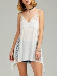 فستان الشمس كامي منديل حفرة الكتف شفاف خفيف - أبيض 2xl