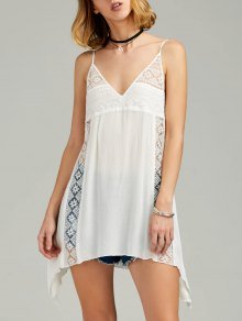 Vestido Trasparente De Sol De Pañuelo De Tirantes Finos Con Encaje Escotado - Blanco Xl