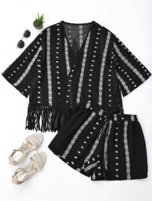 Embroidered Fringe Kimono Blouse With Cami Tank Top And Shorts - Black M