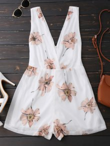Doble Cuello En V Sin Mangas Beach Romper - Blanco Xl