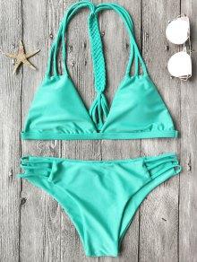 Macrame T Back Conjunto De Bikini Strappy - Turquesa S