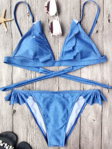 Soft Pad Frilly String Bikini Set