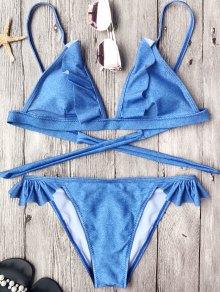 Soft Pad Frilly String Bikini Set - Blue S