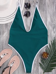 Traje De Baño De Cuello Alto - Azul Verde L
