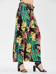 Floral Wide Leg Pants With Tie Belt